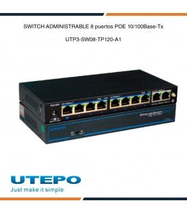 Switch ethernet PoE 8 puertos UTEPO Plug and Play de 5.6GBPS